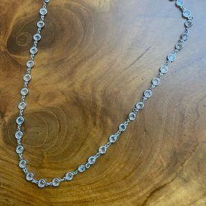 Swarovski clear disc necklace silver tone
